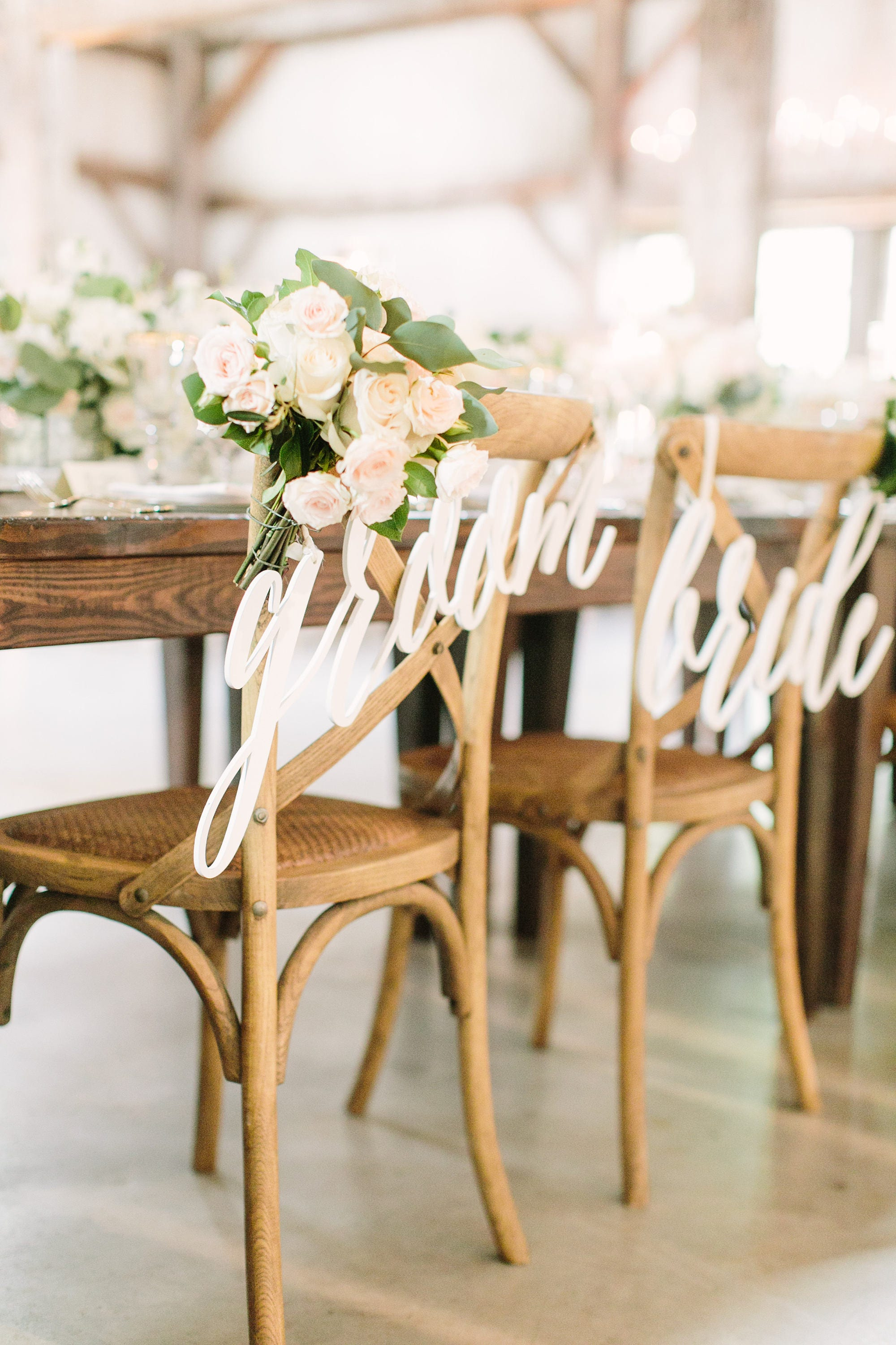 Bride Groom Chair Signs for Wedding Hanging Chair Sign Wooden