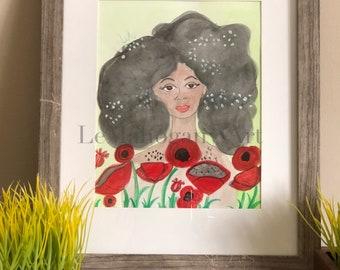 Ms. Spring Poppies- African American Art, Floral Art, Wall Art Poppies, Fashion wall art, Black girl magic art by LeMahogany Art