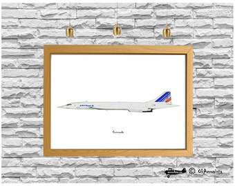 Concorde, air transport poster, airplane wall art commercial, aviation downloadable poster, supersonic airplane, airplane nursery art, color