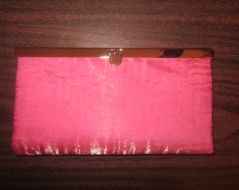 WALLET/CLUTCH - Pink/mango with gold shimmer