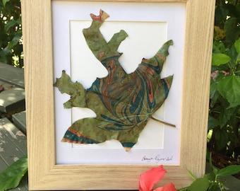 Hand Marbled Leaf,Leaf,Nature Art,Leaf Art,Real Plant Art,Framed Botanical Art,Nature Lover,Minimalist Decor,Wall Art,Shelf Art,Garden Gift