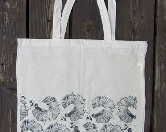 Awesome hand made designed tote bag! Fish pattern~