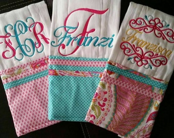 Set of three embroidered burp cloths for baby girl