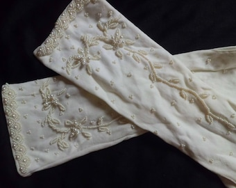 White gloves stowed embroidered vintage t 5 beads - 5 1/2