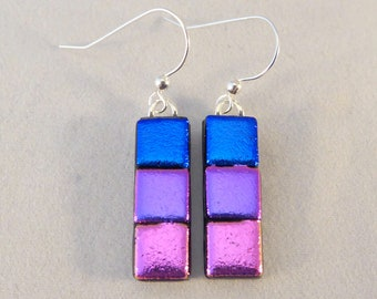 Blue, Purple, Pink Dichroic Fused Glass Dangle Earrings, Multi Colored, Fused Glass, Fused Glass Earrings, Dichroic, Dangle, Colorful