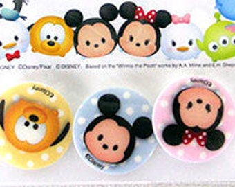 Disney Tsum Tsum Plastic sewing button set of 3 pieces 25 mm ( 0.98inch) in diameter Mickey Minnie and Pluto