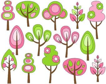Retro Trees Clip Art, Spring Trees Digital Clip Art, Fall Clip Art - YDC050