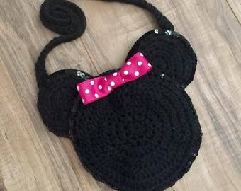 Girls crocheted Minnie Mouse Purse