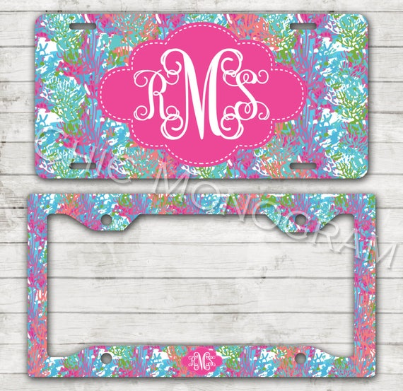 Monogrammed License Plate License Plate Frame Car Tag Personalized Mothers Day Gift Cute Car Accessories Preppy Cha Cha  Coral New Car