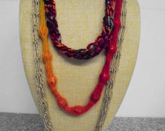 Necklace, long, crocheted 87 cm