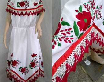 Amazing Vintage Mexican Sun Dress Hand Embroidered Crochet with Handkerchief Hem