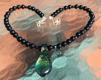 Black Onyx and Vintage Glass Beaded Necklace with a Handmade Dichroic Glass Pendant, Sterling Silver Clasp