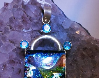 Dichrong glass and blue Topaz Sterling silver pendant with chain Free Domestic Shipping