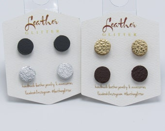 Leather Dot Stud Earrings - Various Colors