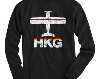 LS Fly Hong Kong T-shirt - HKG Airport Long Sleeve Tee - Men and Kids - S M L XL 2x 3x 4x - Hong Kong Shirt - 2 Colors