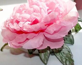 Silk peony, pink wedding fascinator, wedding flower hair clip, pink wedding floral headpieces, flower accessory