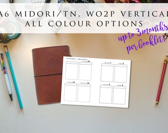 Midori/Traveler's Notebook (A6 TN) insert booklet - week on 2 pages (WO2P), vertical, Mon-Sun, all colour options (TN.A6), multiple months!