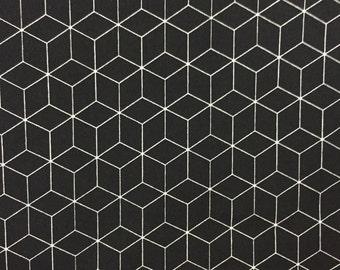 Hexagon Fabric, BLACK & WHITE Fabric by the Yard, Geometric Fabric Honeycomb Fabric Quilting Fabric 100% Cotton Fabric