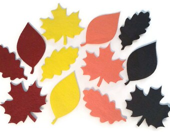Felt Leaves - Set of 12 Autumn Leaf Patch Applique Craft Supply - Iron on Option Available