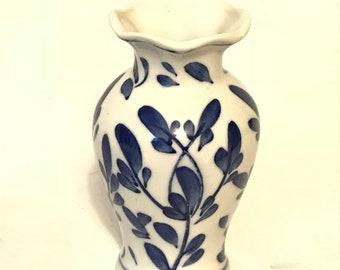 Small Blue & White Chinoiserie Style Bud Flower Vase
