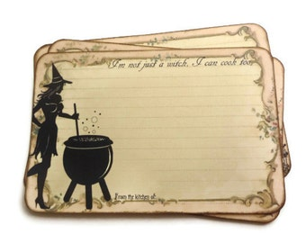 Funny Witch Recipe Cards, Halloween Recipe Cards, Spell Recipe Cards, Wiccan / Pagan, Potion Recipe Cards, 4 x 6 Recipe Cards, Set of 12