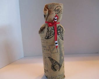 Gift bag, wine, hard to wrap, burlap, brown, black, red ribbon, house warming, hostess gift, Christmas, Thanksgiving, any gift giving time