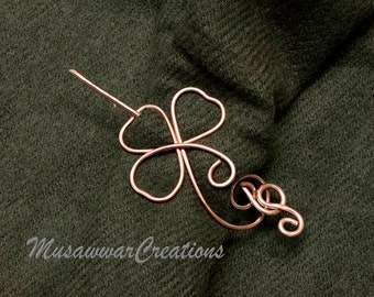 Three leaf clover Shawl pin,copper wire swirl shape pin ,sweater brooch,.sweater brooch.