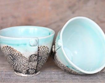 Sea Mist vintage bowls, wine cup, tea bowl, prep bowl, kitchen decor, cute pottery bowl, vintage bowl, dessert bowl, ceramic art