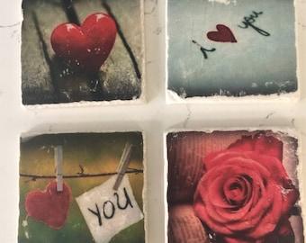 Vintage romantic coaster -Set of 4