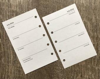 "MINI organizer 2018 Week-on-Two-Pages planner refills (Filofax MINI size) 67mm x 105mm or 2.64"" x 4.13"""