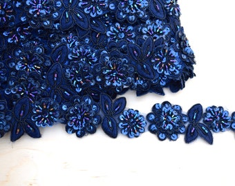 """18"""" Midnight Blue Beaded Lace Trim. Formal Navy Lace Trim. Iridescent Beading Touches."""