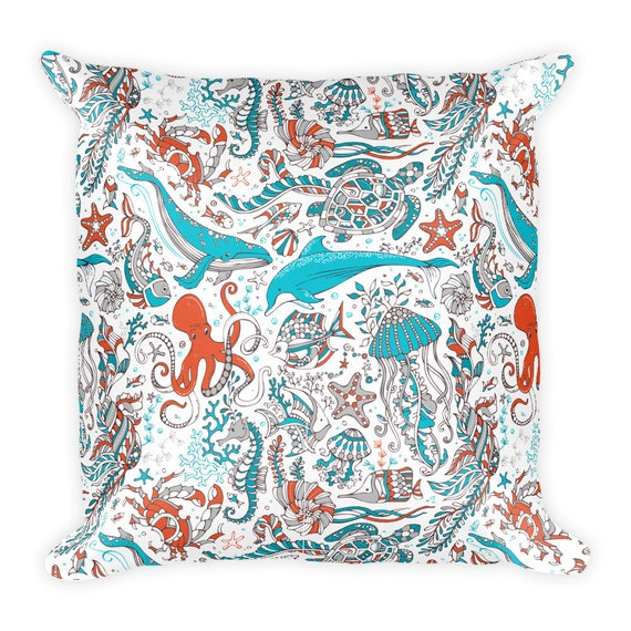 d837b5aa70 Sea Life Square Pillow Dolphin Whale Octopus Seahorse Fish