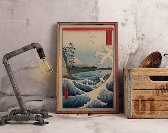 Vintage canvas  print rectangular japan tzunami mount fuji hokusai traditional