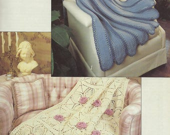 Victorian Beauties Crochet Pattern Book, Home Decor, Lacy Pineapples, Rose Blanket, Bedspread, Sofa Throw, Bedding, Leisure Arts #1292