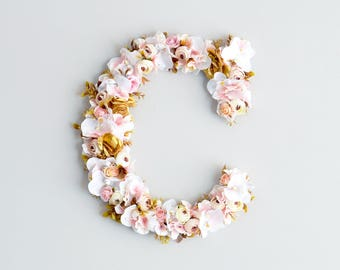 Floral Letters baby room, flower monogram letter, nursery decor, Baby shower gift, Wedding decor, Flower letter dusty pink gold flowers 16''