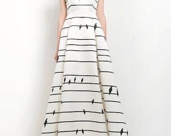 Fine Art Collection black and white unique simple birds gorgeous evening gown dress