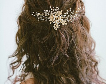 Gold Hair Comb, Gold leaf hair comb, 、Gold headpiece, Gold leaf comb, Bridal hair comb, Prom Hair Comb, RosyroseStudio