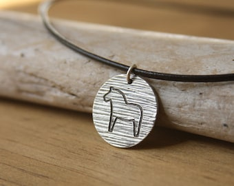 Dala Horse Woodgrain Texture pendant on black leather cord handcrafted from recycled Fine Silver Swedish traditional folk design