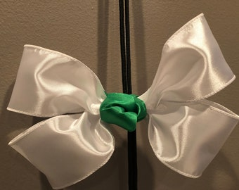 Big White Hair Bow w/ a touch of Green