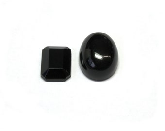 Black Onyx Semi-Precious Stone Cabochon, 2 shape options, Sold as Single Cabochons or by the Dozen