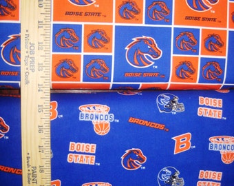 NCAA Boise State Broncos Blue & Orange College Logo Cotton Fabric by Sykel! [Choose Your Cut Size]