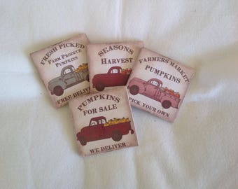 Set of Natural Stone Fall Coasters, Beverage Coasters with Vingage Trucks and Pumpkins.