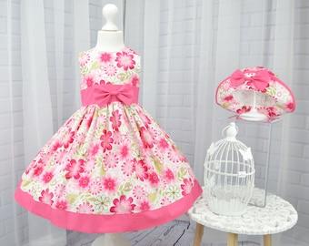 Handmade Girls Dress, Girls Party Dress, Baby Dress, Toddler Dress, Girls Twirl Dress, Girls Dress and Hat, Pink Floral Dress, Girls Dresses