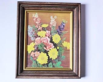 Vintage Framed Flower Arrangement Photo Print, Retro Floral Wall Decor, Kitsch, Super Kitschy 1970s Picture, Veals Galleries Melbourne