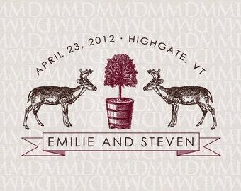 Oh Deer Woodland Custom Wedding Monogram - Wedding Logo - Wedding Crest