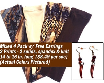 4 Pack with Free Earrings (14 to 16 inches long) - Dreadlock Socks Loc Accessories (Open on the end)