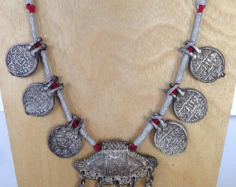 Vintage 1970's White Metal Faux Coin Necklace India