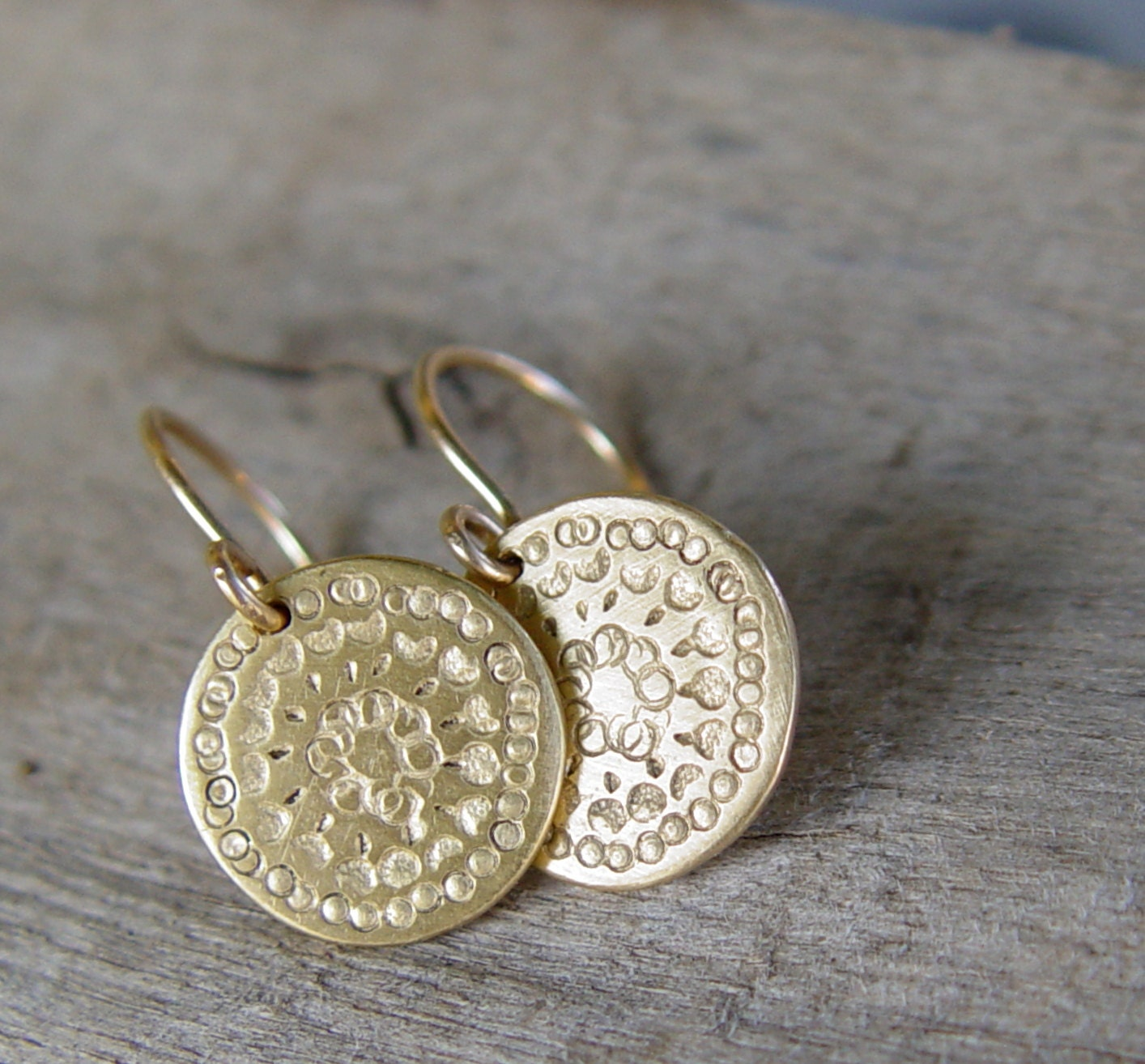Gold Disc Earrings Gold Earrings Gold Earring Circle
