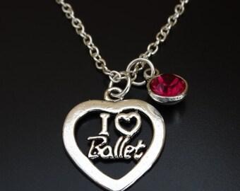 I Love Ballet Necklace, I Love Ballet Charm, I Love Ballet Pendant, Ballet Jewelry, Ballet Gift, Ballet Teacher, Ballerina Necklace