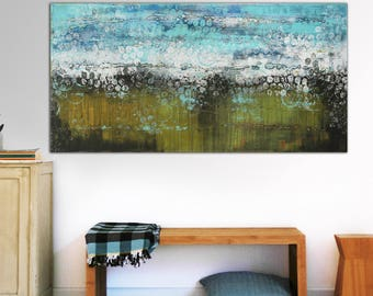 "Original Painting 55.1""x27.6""- Ready To Hang- Abstract Wall Art- Landscape Green and Blue- Ronald Hunter"